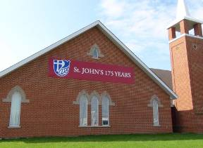st johns church from highway view